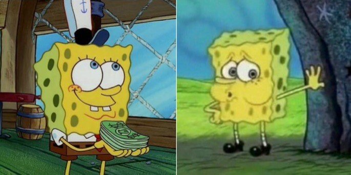 bob esponja meme dinheiro