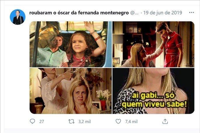 Imagens da novela Avenida Brasil em tweet com o meme Ai, Gabi, só quem viveu sabe