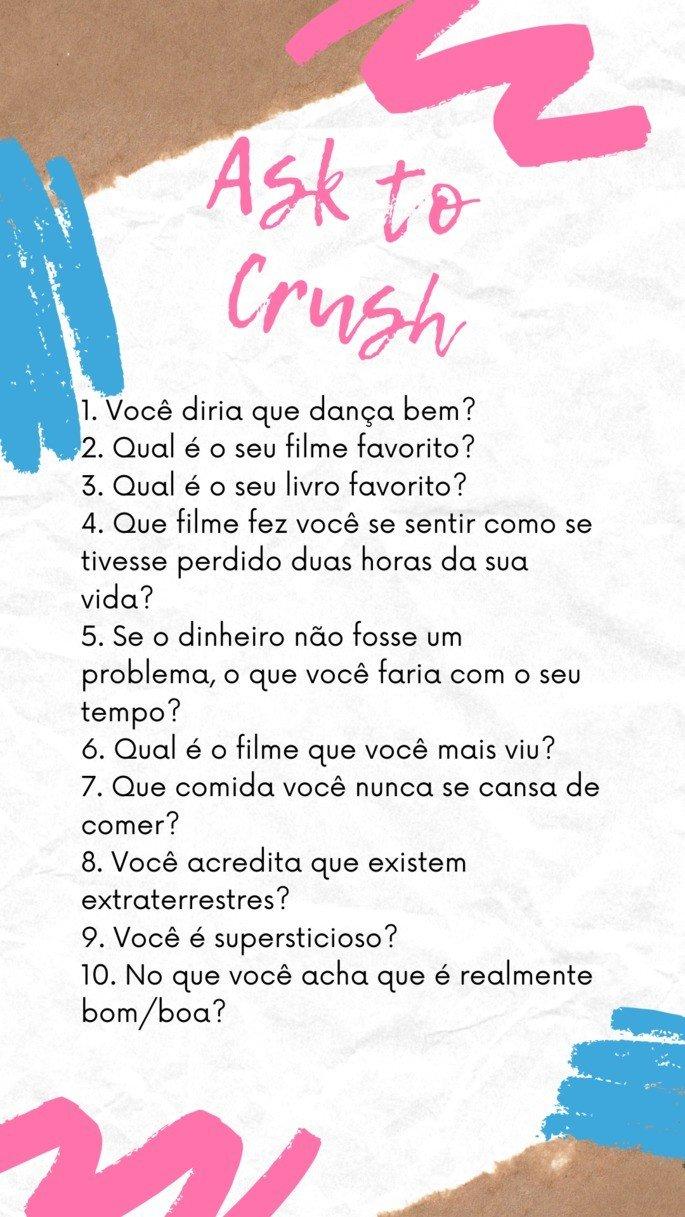 Modelo de template com perguntas para crush