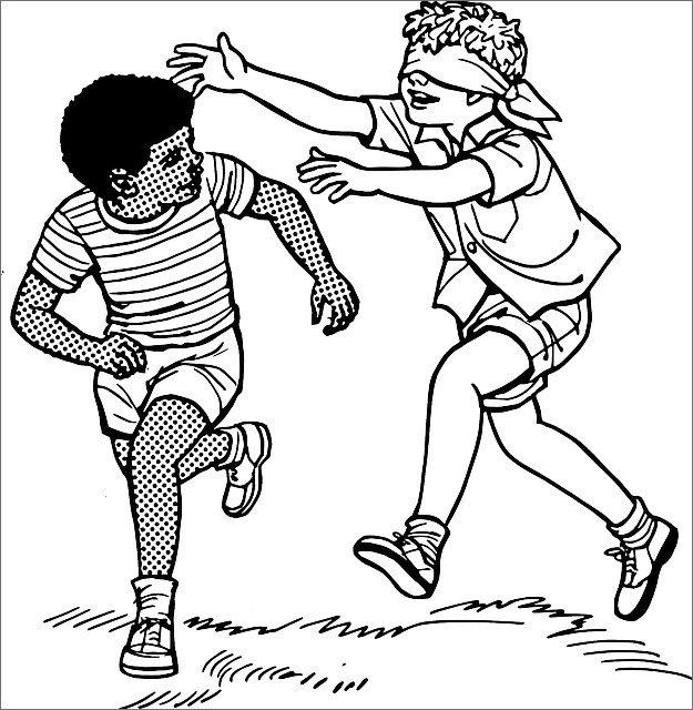Ilustração em preto e branco de crianças brincando de cabra-cega, com um menino de olho vendado e outro não, ambos a correr.