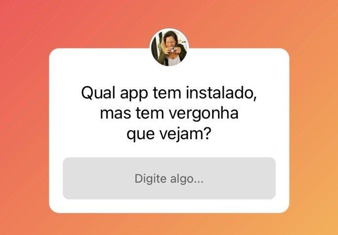 Caixa de perguntas do Instagram sobre app instalado que tem vergonha