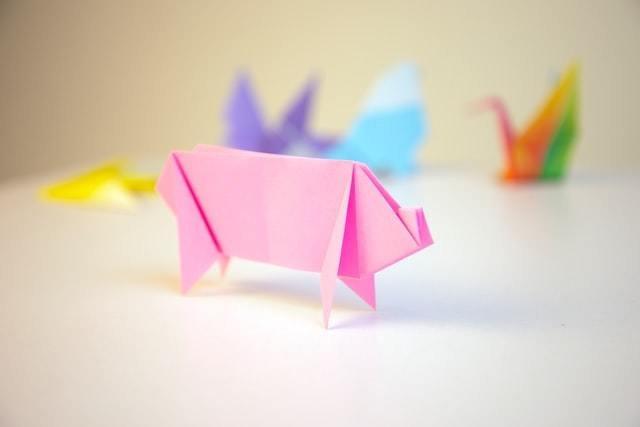 Origami em forma de porco