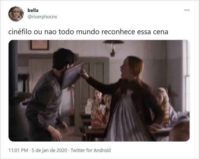 Tweet com meme cinéfilo ou não com cena da série Anne with an E