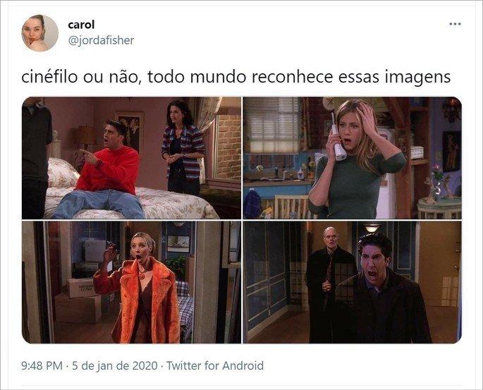 Tweet do meme cinéfilo ou não com cenas do seriado Friends