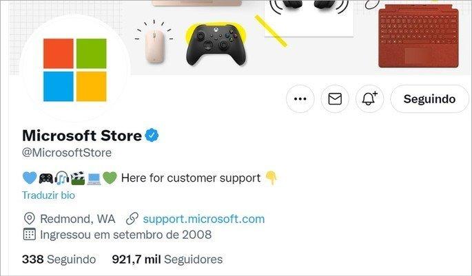 Bio da Microsoft tem o emoji de coração azul