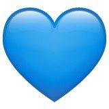 Versão do emoji de coração azul do  WhatsApp