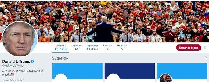 Botão de deixar de seguir Twitter