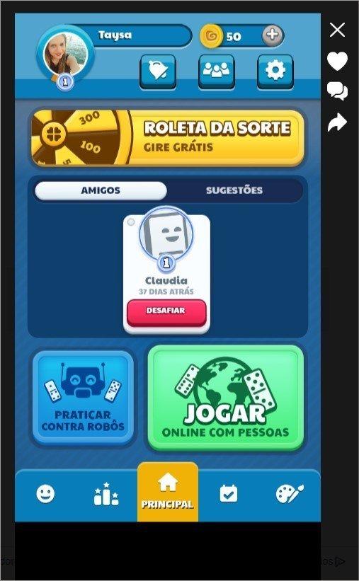 Jogo de dominó online integrado ao Facebook