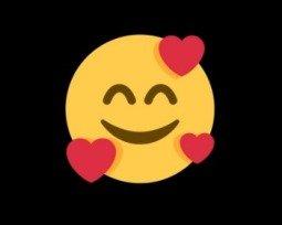 Emoji sorridente com três corações 🥰