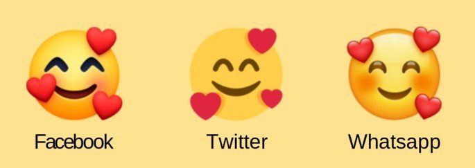 emoji sorrindo 3 corações