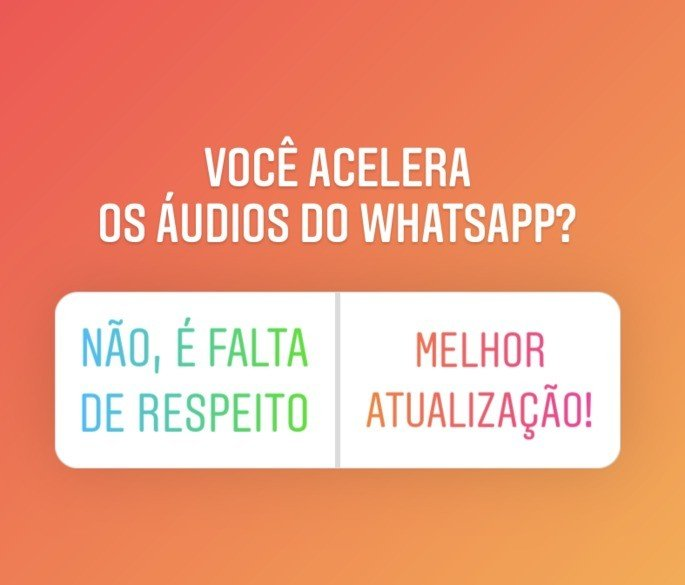 Enquete do Instagram sobre acelerar áudio do WhatsApp