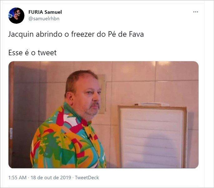 Tweet sobre o meme do chef Jacquin indignado com freezer desligado
