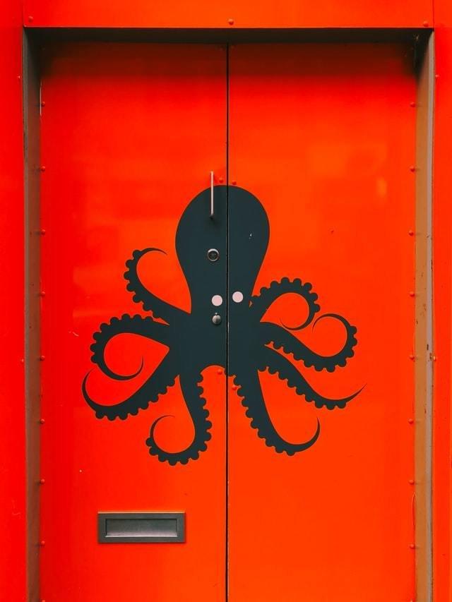 Desenho de um polvo preto em uma porta vermelha