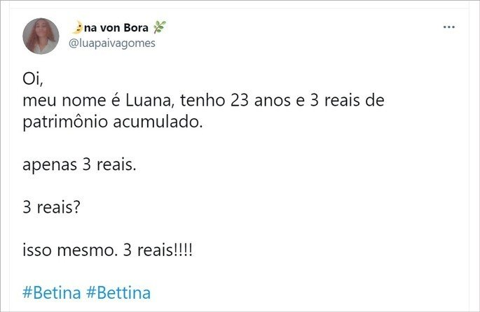 tweet mistura meme da Bettina com meme dos 3 reais