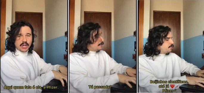 Captura de trechos do vídeo do meme da Pfizer