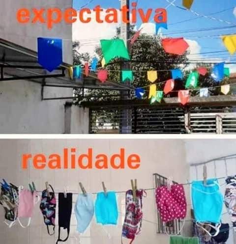 Meme de máscaras substituindo as bandeirinhas de festa junina