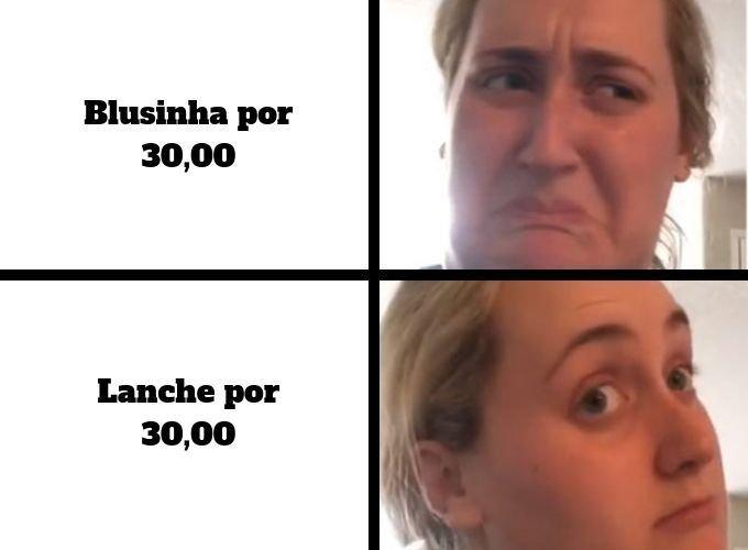 Meme da Kombucha Girl com roupas e comida