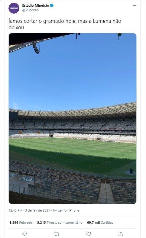 Tweet do Estádio do Mineirão fazendo piada com a Lumena do BBB21