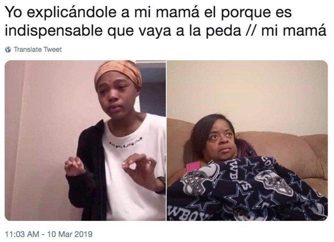 Meme menina explicando mãe