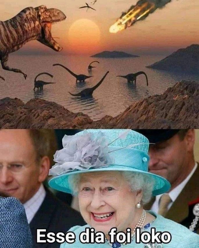 Meme Rainha Elizabeth sobre extinção dos dinossauros