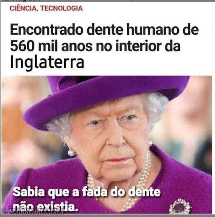 Meme sobre dente de 500 mil anos ser da Rainha Elizabeth