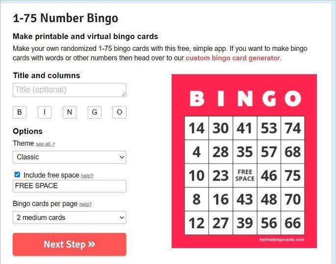 Captura de tela do site My Free Bingo Card