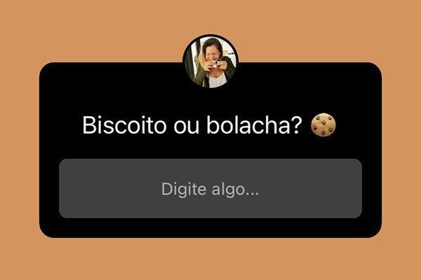 Caixa de perguntas do Instagram com a pergunta Bolacha ou Biscoito
