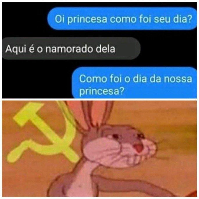 Meme do Pernalonga comunista aplicado em um bate-papo