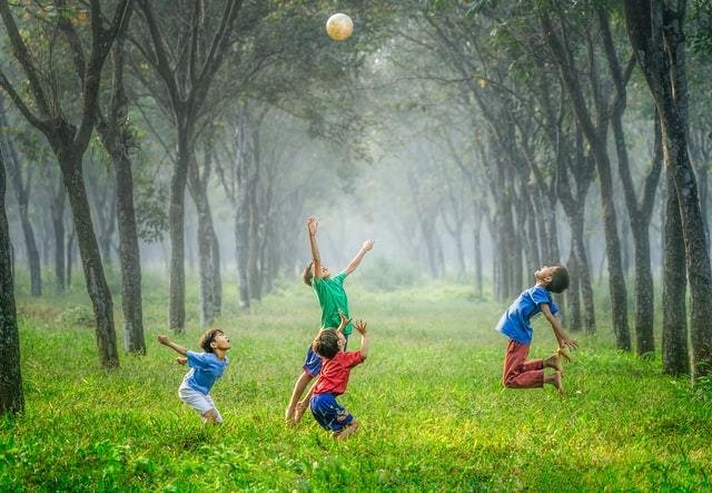 Crianças brincam com bola em gramado