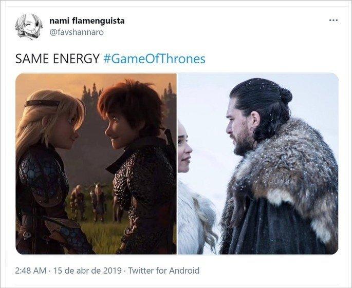 Tweet sobre o meme Same energy com casal de Game of Thrones e casal de desenho animado