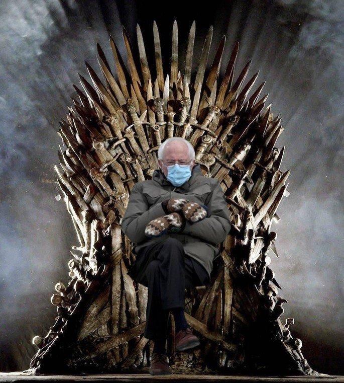 Bernie Sanders Inserido no trono da série de TV Game of Thrones