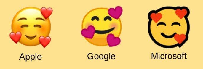 emoji sorridente 3 corações