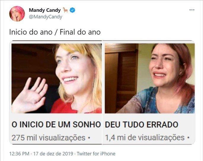 Tweet feito por Mandy Candy mostrando as thumbs de dois vídeos seus publicados no YouTube