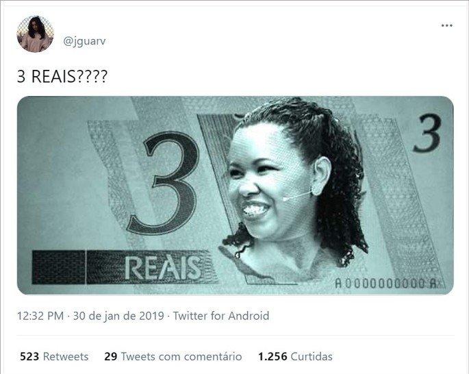 Nota de 3 reais estampada com a artesã Raquel do Amaral, a mulher do meme 3 reais